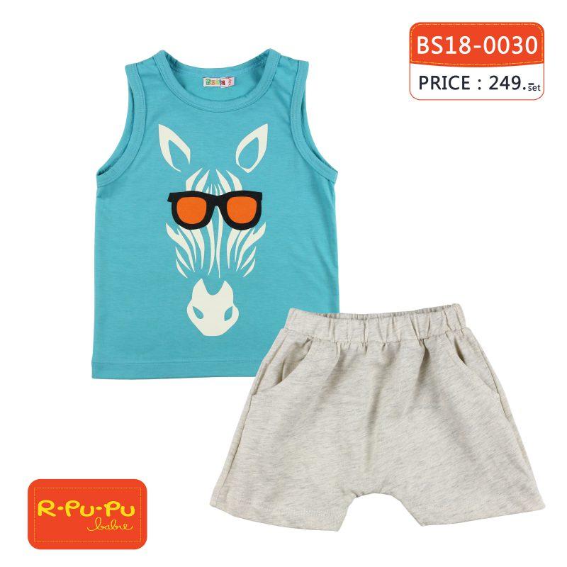 ชุดเสื้อกล้ามและกางเกงขาสั้นเด็กชาย 1-6 ขวบ