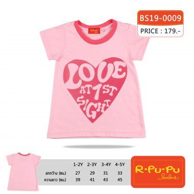 เสื้อยืดคอกลมสีชมพูเด็กหญิง 1-6 ขวบ